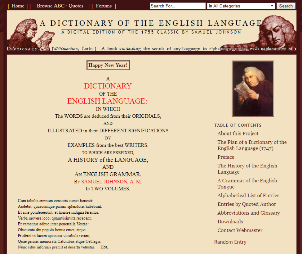 Image of a previous Johnson's Dictionary blog