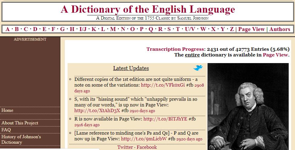 Screenshot of 2012 dictionary website