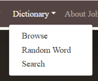 Image displaying the dictionary menu at the top left of the website menu