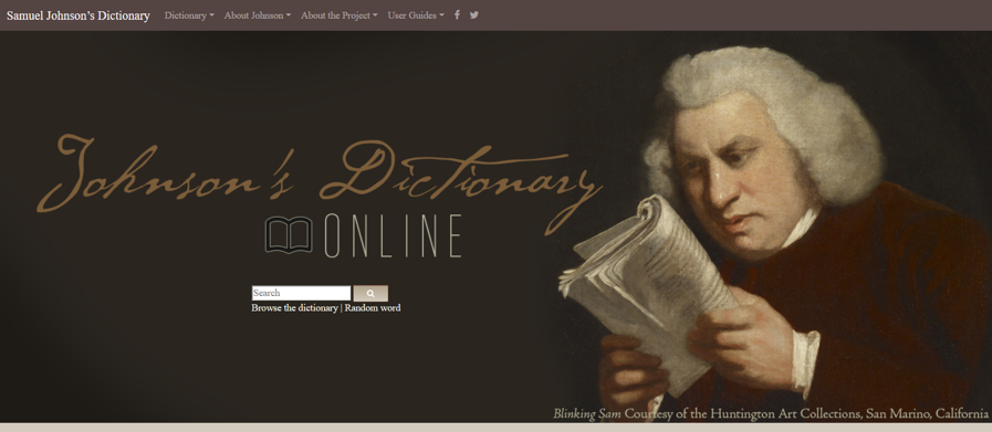 Image showing the front page of the website