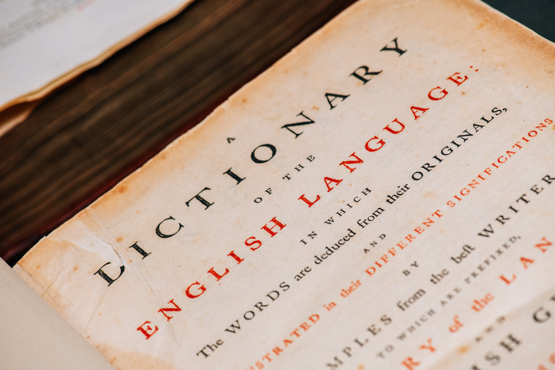 Image of a dictionary title page