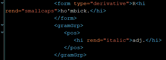 excerpt from XML file for rhombick, adj. that shows markup within the entry