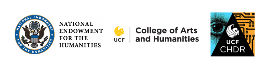 Footer image containing logos for NEH, College of Arts and Humanities, and Center for Humanities and Digital Research